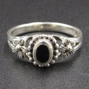 Size 5 Sterling Flower Black Inlay Dainty Ring